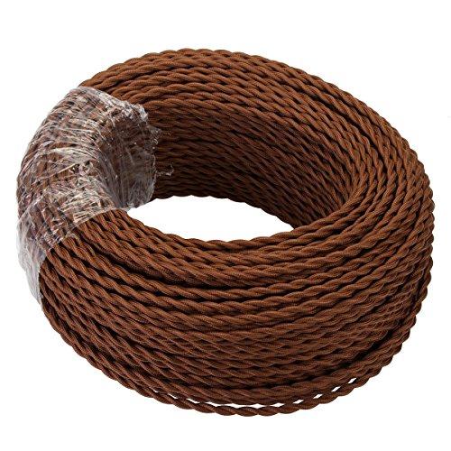 GreenSun Cable de tela para lámpara, cable de tela revestido de tela, cable de alimentación eléctrico de 2 hilos, 2 x 0,75 mm², trenzado, accesorios para lámparas DIY (10 m), color café