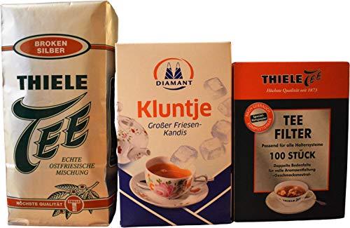 Thiele Tee Broken Silber 500g + Kluntje Friesen-Kandis 1kg + Thiele Tee Filter 100 Stück