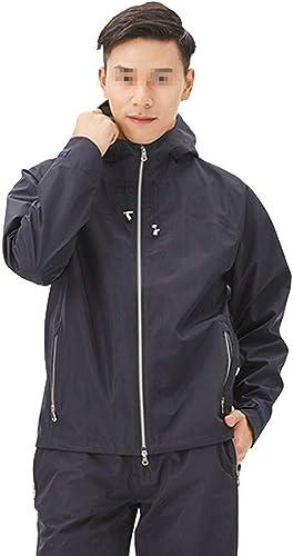 TzJz Imperméable De Mode Adulte Split Léger Et Confortable Trois-en-Un Tissu Imperméable Tissu Poche Diagonale Design Bleu Foncé Camping Randonnée (Taille   XXXL)