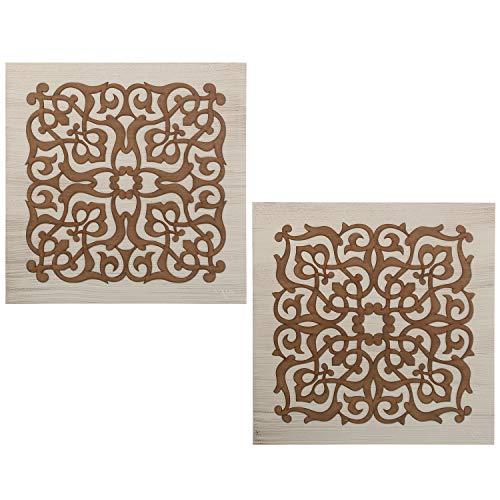 DRW Set de 2 Cuadros Mandala Cuadrados de Madera en marrón 60x60cm
