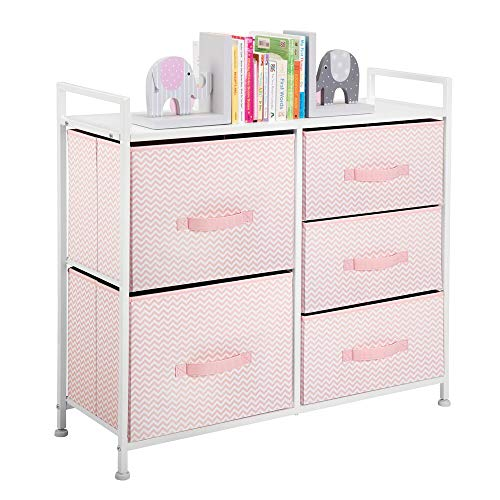 Mejor Sorbus Dresser with 5 Drawers - Furniture Storage Chest for Kid's, Teens, Bedroom, Nursery, Playroom, Clothes, Toys - Steel Frame, Wood Top, Fabric Bins (Pastel/White) crítica 2020