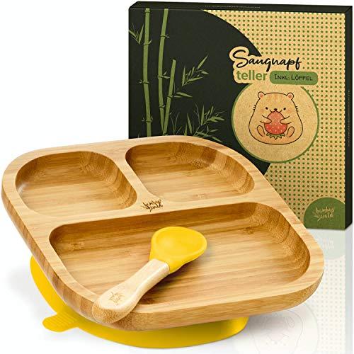 bambuswald© vajilla para niños con ventosa y cuchara | plato para niños hecho de bambú con 3 subdivisiones - plato para bebés
