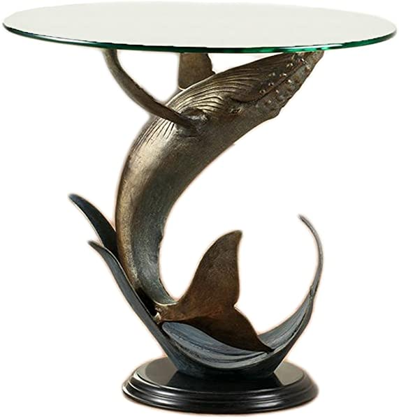 SPI Humpback Whale Metal And Glass End Table