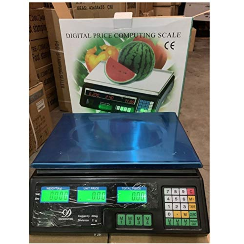 CHICTI Balanzas eléctricas de 30 kg, báscula de Cocina Digital LCD Precio electrónico de computación Escala Comercial Industrial de la Tienda Pequeño (Color : Black, Size : 30KG/5g)