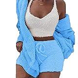 BAINA 3 pièces Femmes Pyjamas Ensemble Sexy Chaud Hiver Dame Salon vêtements de Nuit ensembles Couleur Unie Col en v Manches Gilet + Short + Manteau S - 5XL