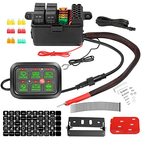 6 Gang Switch Panel, Auto Power Plus Automatic Dimmable Switch Pod Panel Circuit Control Box Relay System Universal Touch Switch Box with Harness Label Sticker for Car Marine Boat ATV UTV Truck