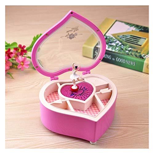 Caja Musical Caja de música Día del regalo de cumpleaños for niñas mujeres música del corazón joyero musical Caja de almacenamiento de la bailarina Rosa musical Cajas de San Valentín ( Color : Pink )