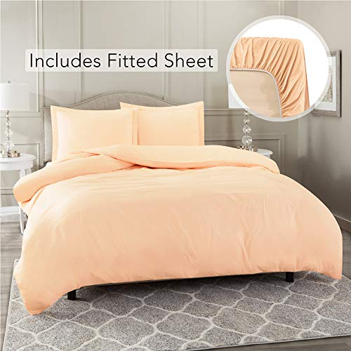 Nestl Bedding Duvet Cover 3 Piece Set - Ultra Soft Double Brushed Microfiber Hotel Collection - Comforter Cover with Button Closure, Deep Pocket Fitted Sheet, 1 Pillow Sham, Twin XL - Peach