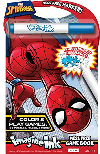 Marvel Spider-Man 24-Page Imagine Ink Coloring Game Book with Mess Free Marker 49928 Bendon