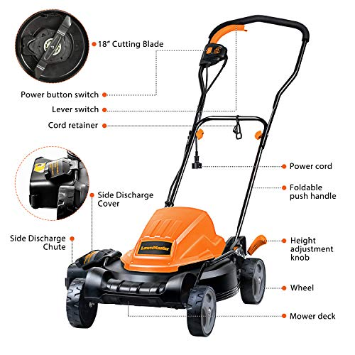 LawnMaster ME1218X Electric Lawn Mower 12AMP 19-Inch
