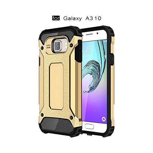 Ycloud Funda para Samsung Galaxy A3 2016 Doble Capa Híbrida Armor Silicona TPU + PC Case Shock-Absorción Armadura Gold Carcasa para Samsung Galaxy A3 (2016) A310 4.7pulgada