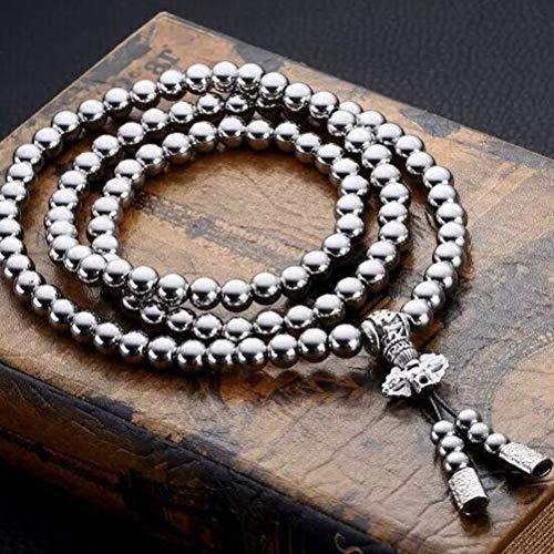 Collar de cadena para hombres / mujeres, collar de cuentas de acero inoxidable 108 Collar de cuentas de Buda Collar de acero inoxidable de autodefensa para exteriores Collar de cadena de metal de