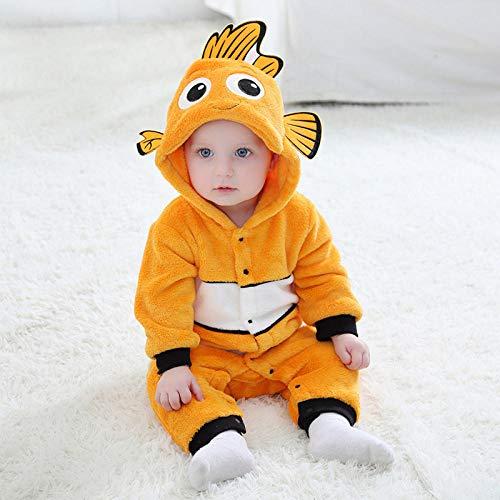 Ybyifs Disfraz de Cosplay de pez, Mono Encantador para bebé, Traje de pez Amarillo, Pijamas cálidos de Invierno, Regalo Divertido de Halloween para niños(Nemo_3T (2,6-3 años))