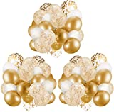 60 gold balloons with gold confetti balloon with ribbon   gold balloon   gold latex balloon   gold balloon   white and gold balloon 30.48 cm   transparent balloon with gold confetti  
