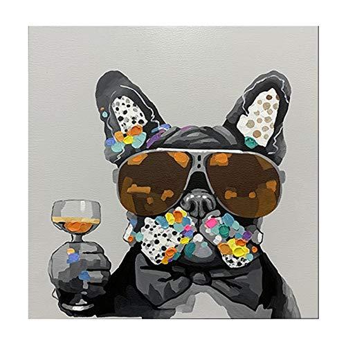 Lienzo Arte De La Pared Graffiti Perro Moderno con Gafas De Sol Carteles E Impresiones Cuadros NóRdicos para La DecoracióN del Hogar De La Sala De Estar-80x80cm Sin Marco