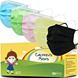 Hxihan Kids Face Masks 50 Pack Ages 4-12,Disposable 3-Layer Protection Filter Child Face Mask for Kids Safety Anti Dust Cove 50 Pcs (Medium, 5Colors)