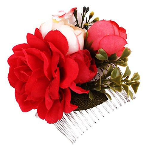 Sharplace Peine Nupcial de Flores Artificiales Peineta de Pelo Horquilla de Novia Joyas para Mujer Boda - Rojo