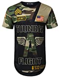 URBANCREWS Mens Hipster Hip Hop Thunder Camouflage Longline T-Shirt Black, M