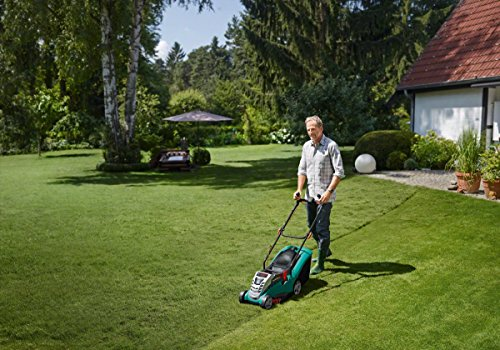 Bosch Rotak 370 LI Cordless Lawnmower with Two 36 V Lithium-Ion Batteries (2 Batteries, 40 Litre Grassbox, Charger, 36 V, Green, Cutting Width/Height: 37 cm/20-70 mm)