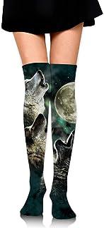 WH-CLA, Calf Sock Three Wolf Moon Calcetines De Compresión Calcetines Largos Para Mujer Calentadores Informales Sobre La Rodilla Vestido Para Niñas Novedad Calcetín Para Botas Altas Sobre