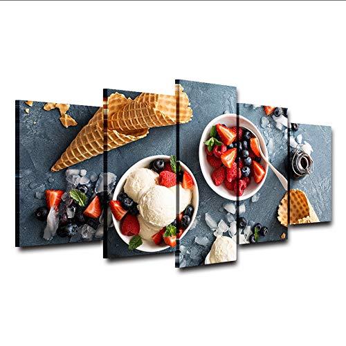 hhlwl Immagini della parete della tela di canapa Home Decor HD Stampa 5 Pezzi Gelato alla fragola Pittura fredda modulare Poster Quadro della cucina-30x40/60/80cm-no frame