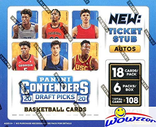 2020/21 Panini Contenders Draft Picks Basketball Factory Sealed HOBBY Box with SIX(6) AUTOGRAPHS! Look for Rookies & Autos of LaMelo Ball, Anthony Edwards, James Wiseman & Many More! WOWZZER!