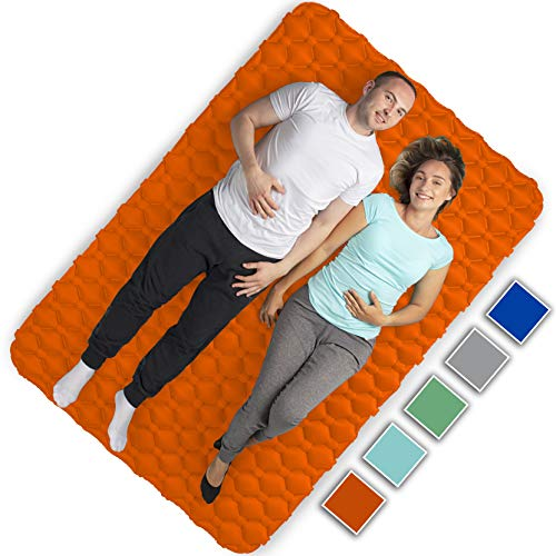 Royexe Heavy Duty Double Sleeping Pad | Ultra Thick Inflatable Camping Mat | 2 Person Compact Bed for Backpacking and Hiking | Compact Sleeping Bag Air Mattress (Orange)
