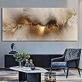 Cuadro decorativo nórdico con diseño abstracto de paisaje marino gris dorado y póster para sala de estar, 70 x 160 cm, sin marco.