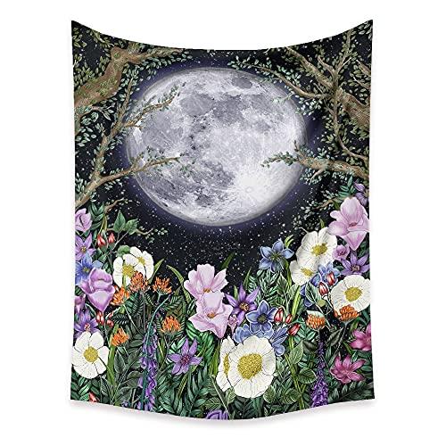 Tapiz de flor de cambio de luna psicodélico colgante de pared alfombra de pared hippie tela de picnic tapiz bohemio tela de fondo A7 73x95cm