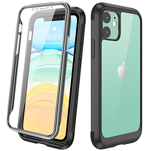 """DIACLARA Compatible with iPhone 11 Case, Full Body Rugged Case with Built-in Touch Sensitive Anti-Scratch Screen Protector, Soft TPU Bumper Case Cover Compatible with iPhone 11 6.1"""" (Black and Clear)"""