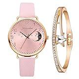 Yue668 Mode Damen Quarz Uhr mit Edelstahl/PU Leder Armband, Lässige Armbanduhr Mit Elegante Armbänder, Frauenuhren Damenuhr Geschenk für Frauen Damen (E3)