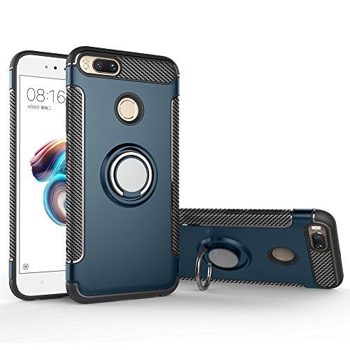 BLUGUL Funda Xiaomi Mi A1 /Funda Xiaomi Mi 5X, Soporte Giratorio del Anillo de 360 Grados, Compatible con Soporte Coche Magnético, Case Cover para Xiaomi A1/5X Cyan
