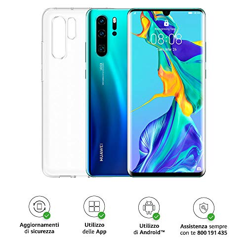 "Huawei P30 Pro (Aurora) Smartphone + Cover Trasparente, 8GB RAM, Memoria 128GB, Display 6.47"" FHD+, Processore Kirin 980, Quadrupla Fotocamera 40+20+8MP, Sensore TOF, SuperZoom 50x, [Italia]"
