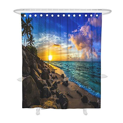Fansu Duschvorhang Anti-Schimmel, 3D Drucken 100prozent Polyester Bad Vorhang Wasserdicht Anti-Bakteriell mit C-Form Kunststoff Haken mit 12 Ringe für Badzimmer (Navy blau,90x180cm)