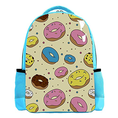 Mochila escolar azul para hombre, mochila de viaje, bolsa de viaje, dulces, rosquillas, amarillo y rosa