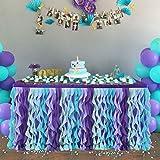 NSSONBEN Violet Bleu Tutu Jupe de Table Tulle Jupe de Table Maille Moelleux Table de Plinthe pourFête d'anniversaire de Douche de bébé Table de Banquet de Mariage Décorations(3Yard/9ft/L275cm*H77cm)