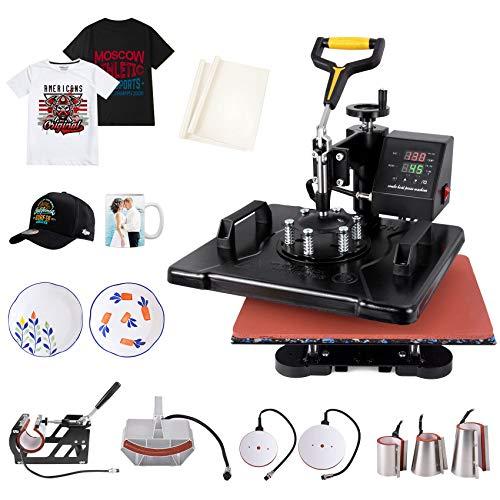 Slendor Heat Press 12x15 inch Heat Press 8 in 1 Machine 360-Degree Swing Away Digital Multifunction Sublimation Combo for T Shirts Mugs Hat Plate Cap