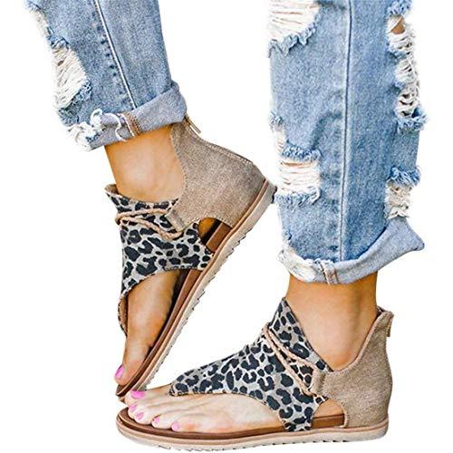 JFFFFWI Sandalias de Gladiador Elegantes para Mujer Estampado de Leopardo Sandalias de Tanga con Tiras de Tobillo Vintage con Cremallera Sandalias Planas de Cuero Romanas Informales cómodas Sandalia