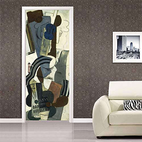 Türaufkleber 3D, TürPoster Selbstklebend PVC Wasserdichte, Schlafzimmer, Küche und Bad Tür-Aufkleber, entfernbare Türaufkleber, Picasso, berühmte Gemälde, Abstrakt, Gitarre, Charakter(77x200cm)