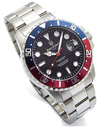 Don Clark 150本限定モデル ダイバーズウォッチ 青赤ベゼル メンズ 腕時計 ロック式リューズ 回転ベゼル 日付表示 holomua DM-2061-05H [並行輸入品]
