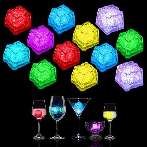 Valeny 12 Pack LED Eiswürfel für Getränke, Wein Trinken Light LED Flash Ice Lichter-Dekoration Flüssiger Glow Licht mit EIN/Aus Wechseln für Champagner, Party, Hochzeit, Club und Bar