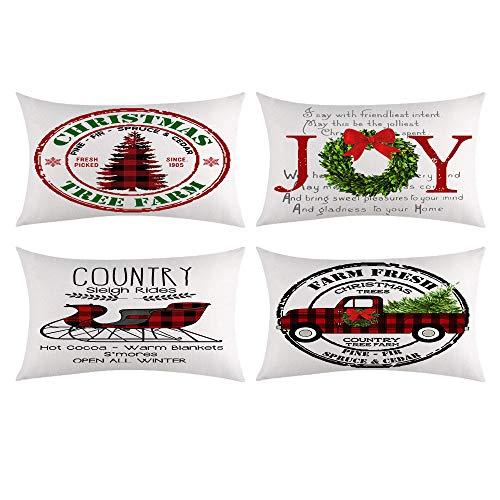 Ywlake Christmas Pillow Cover 12x20 Set of 4, Decorative Buffalo Check Plaid Plad Xmas Merry Christmas Lumar Pillow Shams Cases Slipcovers for Outdoor Farmhouse Sofa Couch