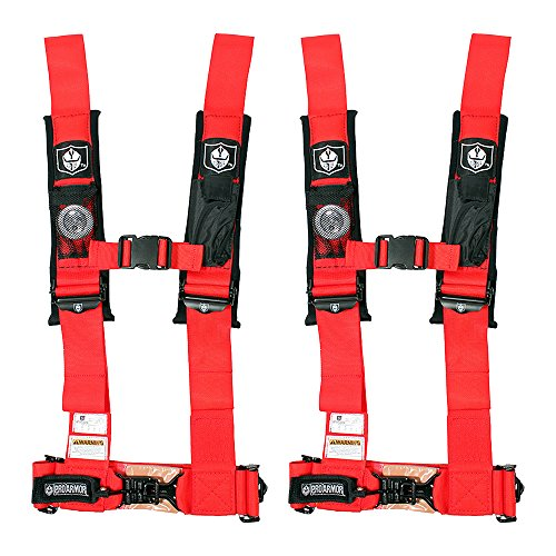 "Pro Armor A114230RD Red 4-Point Harness 3"" Straps, 2 Pack"