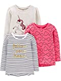 Simple Joys by Carter's Girls' Toddler 3-Pack Graphic Long-Sleeve Tees, Unicorn/Heart/Stripe, 3T