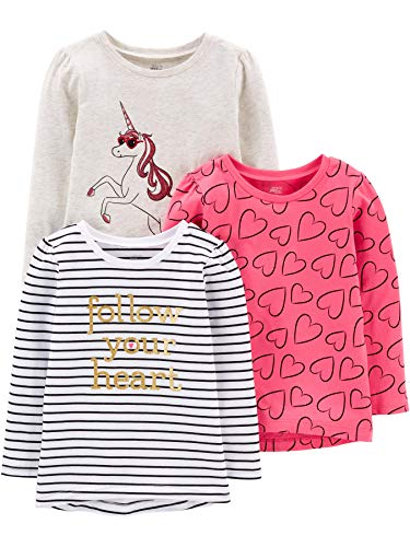 Simple Joys by Carter's Girls' Toddler 3-Pack Graphic Long-Sleeve Tees, Unicorn/Heart/Stripe, 4T