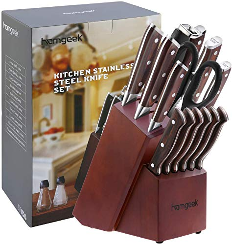 homgeek Cuchillos Cocina, Cuchillos de Cocina 15 Piezas Hecho de Acero Inoxidable Alemán 1.4116, Juego de Cuchillos de…