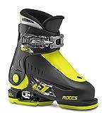 Roces Chaussures de Ski pour Enfant, Taille Ajustable Noir Black-Lime 25/29
