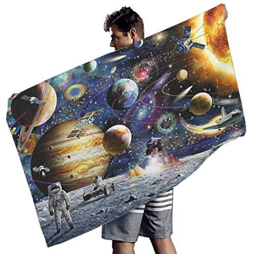 Perstonnoli Universum Galaxie Planet - Toalla de playa de microfibra, ligera, toalla de playa, toalla de baño, picnic, toalla de playa, esterilla de yoga, toalla rectangular, color blanco, 150 x 75 cm