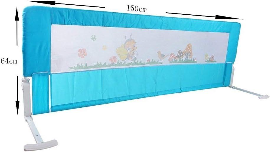 Hyzb Lit De Barrière, Rail De Lit De Sécurité De Rail De Garde d'enfant De Lit Pliant De 150 Cm Respirable Simple (Color : Blue) Blue
