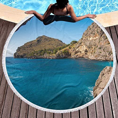 Arco en Mallorca España Impreso Toalla de Playa Redondo Yoga Picnic Mat Mantel Redondo Ultra Suave Super Absorbente Agua Toalla De Terry Con Borlas